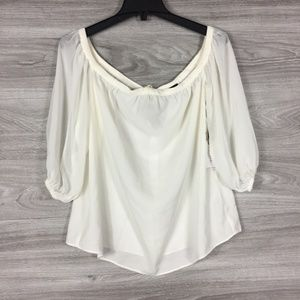 1. State Tops - 1.State Off the Shoulder Sheer Chiffon Blouse